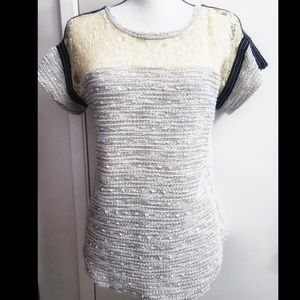 Sanctuary Lace Knit Textured Top Size Small